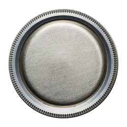 Round steel button, metal plate texture