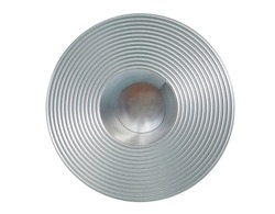 Round steel coil isolated in production factory.