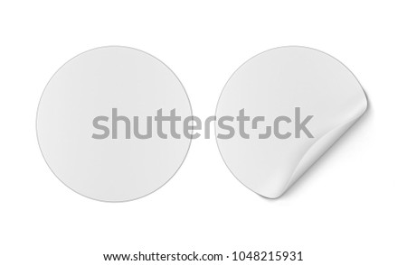 Round sticker. 3d illustration isolated on white background  #1048215931