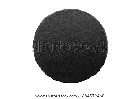 Photo of  Round stone cheese Board on an empty white background, top view, with good texture, serving Board, for serving food, front view