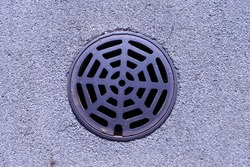 round storm drain in the street