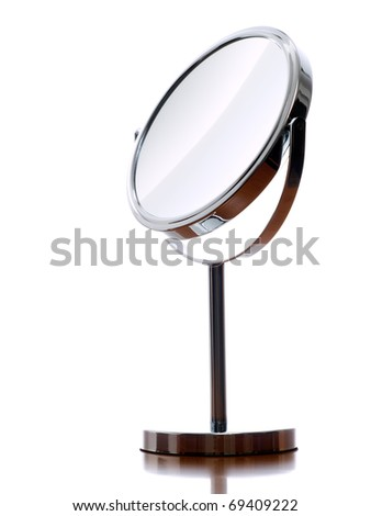 Round table mirror on a white background.