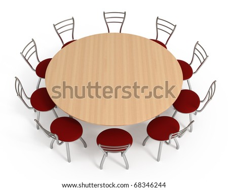 Round table with chairs, isolated on white with clipping path, 3d illustration