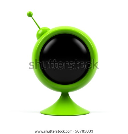 Round television isolated on white background.