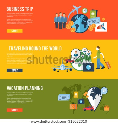 Round the world business team meeting traveling route trip planning horizontal banners set abstract isolated  illustration