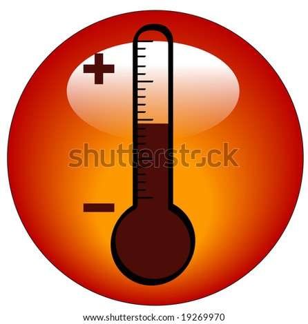 round thermometer icon or button - illustration