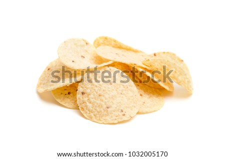 Round Tortilla Corn Chips on a White Background