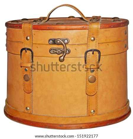 Round vintage brown leather suitcase, isolated on white background