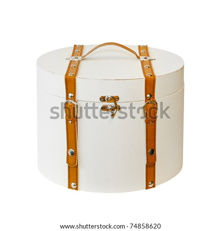 Round vintage suitcase isolated included clipping path