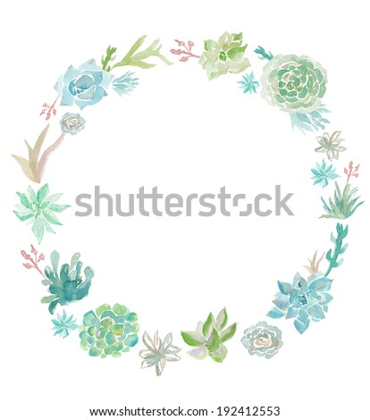 Round Watercolor Succulents Wreath with Painted Watercolour Desert Plants
