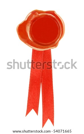 round wax seal red with a red ribbon