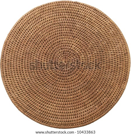 Round weaving from rattan, on a white background