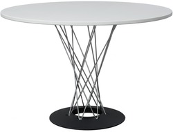 round white dinning table. Modern designer, table isolated on white background. Series of furniture.