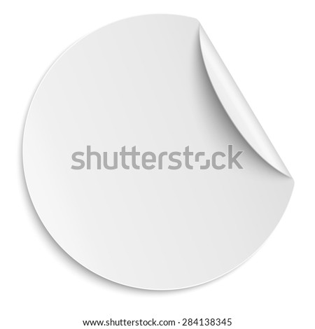 Round white paper sticker isolated. Light from upper right.