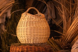 Round wicker basket from willow