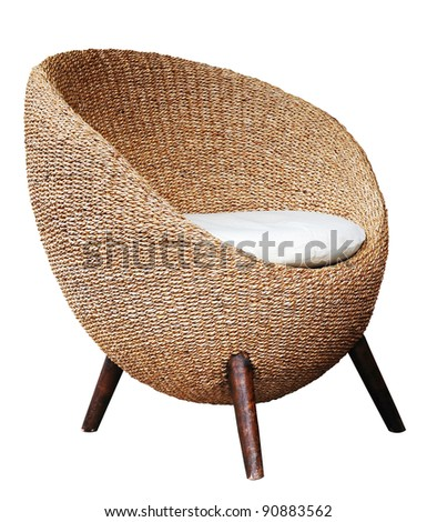 Round wicker chairs on white background
