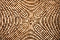 Round wicker woven fabric