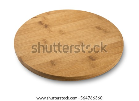 Round wooden cutting board, rustic dish, isolated on white background #564766360