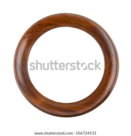 Round wooden frame isolated on white