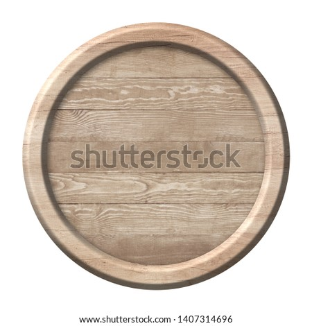Round wooden signpost or plate made of natural wood and with bri #1407314696