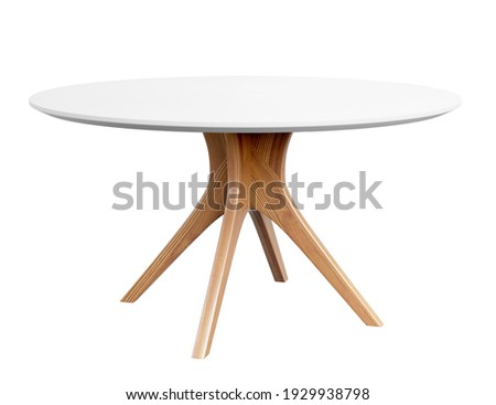 Round wooden table with a white counter. Dining table isolated on white background. Clipping path included. 3D render. 3D illustration.