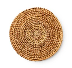 Round woven placemat placed on a white background. View from above.
