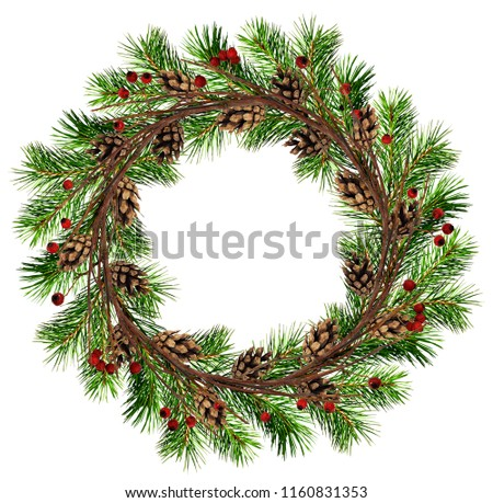 Round wreath from dry twigs and Christmas tree branches with red berries and cones isolated on white background. Flt lay. Top view. #1160831353