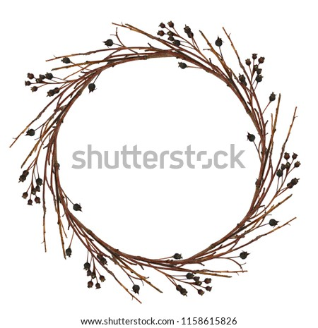 Round wreath from dry twigs with black berries isolated on white background. Flt lay. Top view. #1158615826