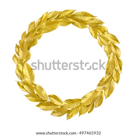 Round Wreath from golden leaves isolated on white background. Useful for holiday invitation, decorative design etc. #497465932