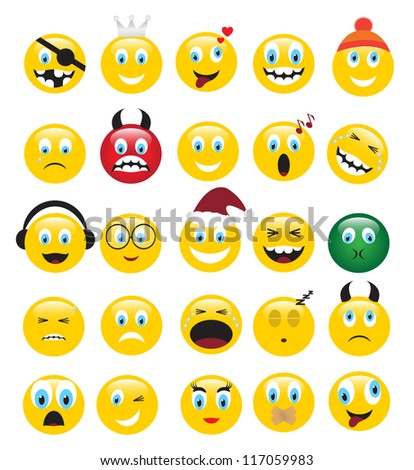 round yellow icons depicting various human emotions.