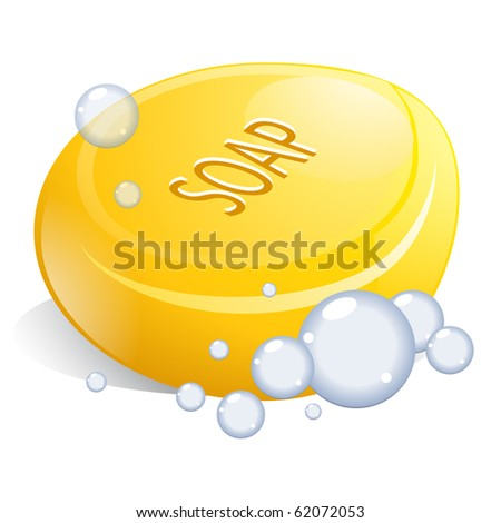 Round Yellow Soap with Bubbles