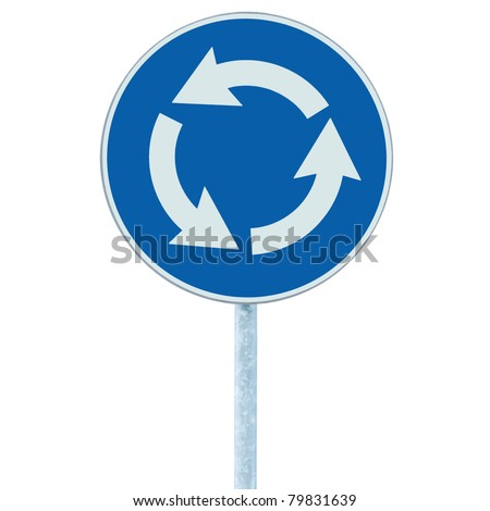 Roundabout crossroad road traffic sign isolated, blue, white arrows right hand - stock photo