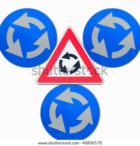 Roundabout road signs isolated - stock photo