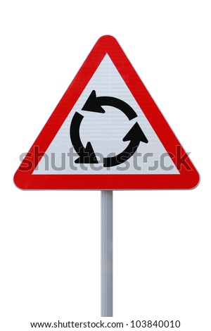 Roundabout sign isolated on white background (with clipping path)