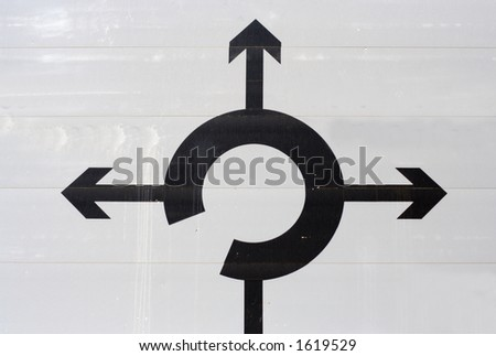 roundabout sign with space for new copy