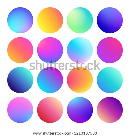 Rounded holographic gradient sphere button. Multicolor green purple yellow orange pink cyan fluid circle gradients, colorful soft round buttons or vivid color spheres flat  set