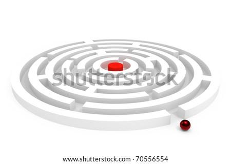Rounded maze isolated on white background