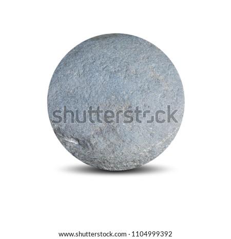 Rounded stone isolated on white background.Big granite rock stone.rock stone isolated on white background.