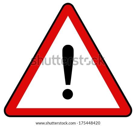 Rounded triangle shape hazard warning sign with exclamation mark symbol. bitmap illustration