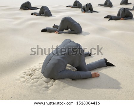 roup of businessmen hides their heads in the sand, 3d illustration Foto stock ©