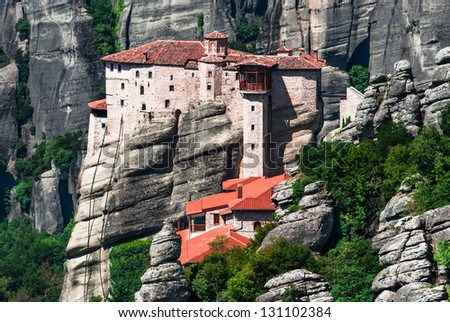 Rousannou Monastery occupies a lower rock than the others of the Meteora and was built in the 16th century, the easily-accessible. Greece.