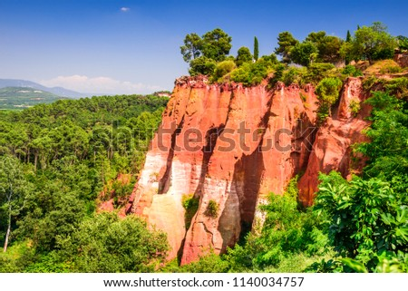 Roussillon, red rocks of Colorado colorful ochre canyon in Provence, landscape of France.
