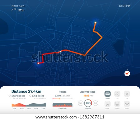 Route dashboard. City street map navigation, town running routes and gps tracking maps app. Navigate device or route navigator tracker mobile interface. Flat  illustration