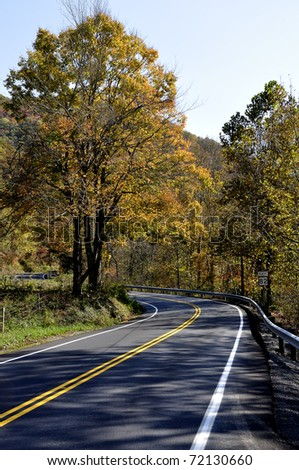 Route 82 East, Two-lane Highway in Autumn, Birch River, West Virginia, USA