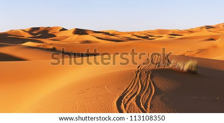Route in the dunes of Sahara desert in Morocco
