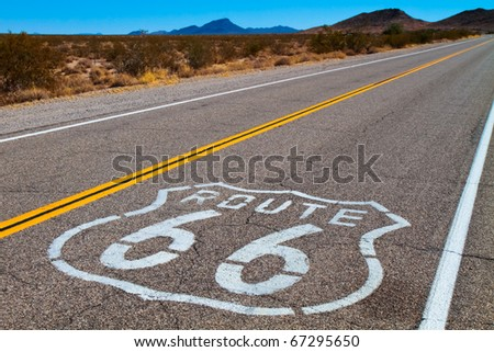 Route 66 in the Mojave Desert.