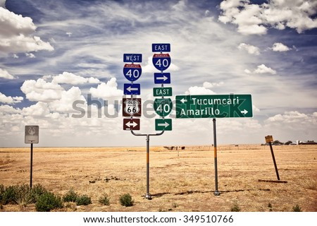 Route 66 intersection signs in Adrian, Texas #349510766