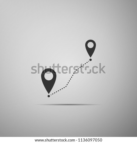 Route location icon isolated on grey background. Map pointer sign. Concept of path or road. GPS navigator. Flat design #1136097050