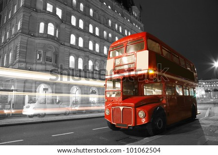 Route Master Bus in the street of London. Route Master Bus is the most iconic symbol of London as well as London's Black cabs.