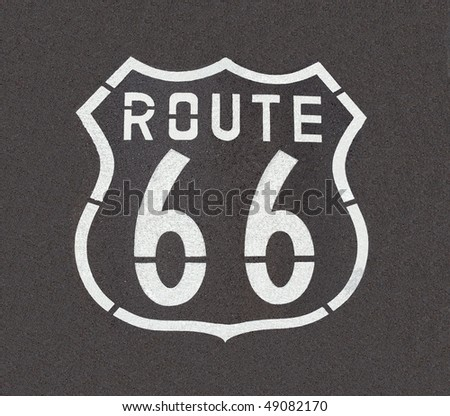 Route 66 pavement sign, straight down angle.